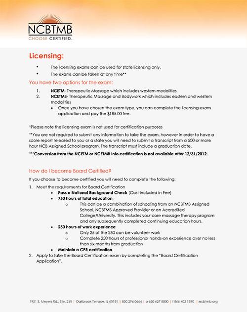 NCBTMB-MBLEX requirements